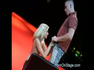 Porn on stage Blond sucking