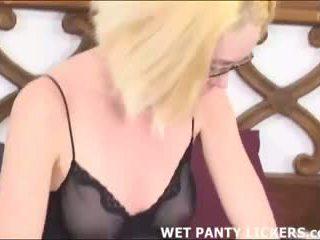 Blonde loves sniffing her best friend's panties