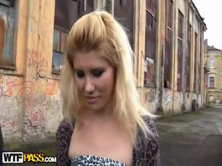 Hot Out Of Doors Bump Close To A Nasty Blonde