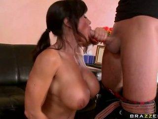 brunette seks, een pijpen scène, meloenen