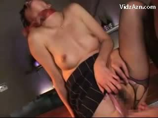 Girl In Uniform Sucking boner Getting Her Pussy Fucked On A Chair In The Bar