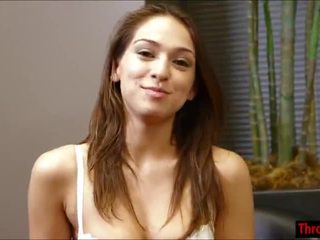 Latin Sara Luv comes by to get throated and takes it like a pro