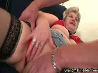 Granny Escort enjoys two shafts