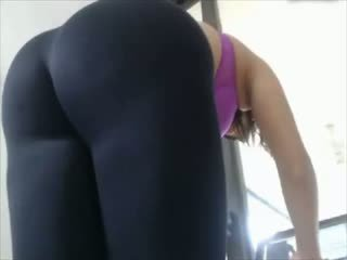 Fit Girl In Leggings Stripping, Awesome Ass