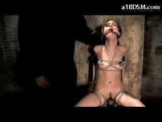 Girl Tied To Chair Vibrator Between Legs Mouthgag Nipples Eyes Tortured Tongue Clip Tortured With Weight In The Dungeon
