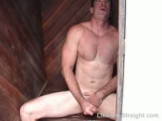 Str8 hunky dream man with movie star looks and body jacks off and cums twice while he talks pussy.