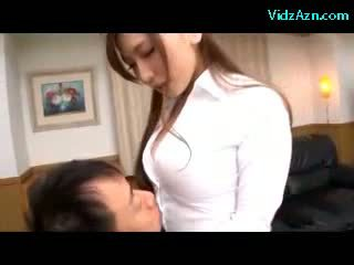 Busty Secretary Getting Her Tits Rubbed Giving Blowjob For Her Bosses On The Couch