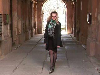 Ukrainian girl posing in stockings