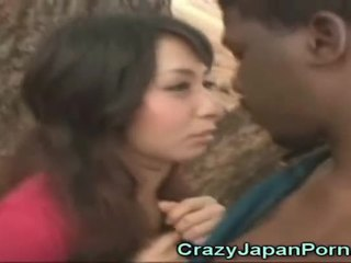 Asian Cutie Sucks An African!