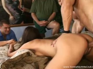 Screw My Wife Club: Nasty brunette gets fucked in front of her husband