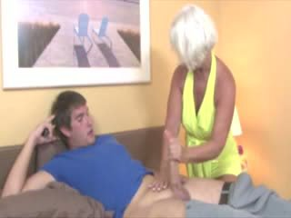 Granny gets cumshot from cock and loves it