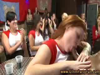 Cfnm amateur party girls suck stripper boner