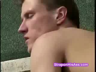 Tiny Blond with glasses strapon fucks perv on the tennis court