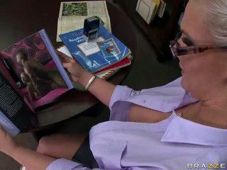 Tattooed blonde teacher Phoenix Marie takes a big cock Video