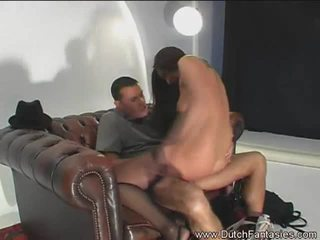 Dutch Fantasies: Dutch fantasy with a sexy brunette on a fat cock.