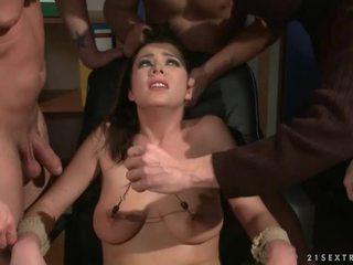 Three guys punishing and fucking a slave girl