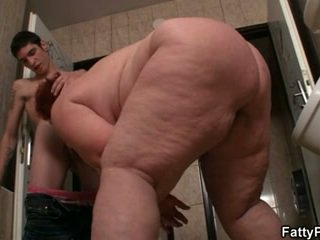 Huge titted plumper is fucked at the floor