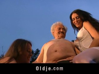 Grandpa Gardener Banged By Two Spoiled Teens