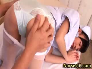 Hot asian nurse gets fingered