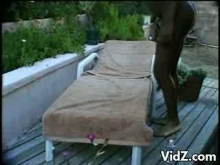 9months ebony slut Luna jumps in pool for fuck