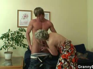 Old bitch pleases hot-looking young stud