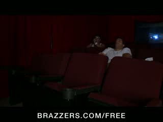 Bridgette B - Big-tit blonde pornstar has an anal DP threesome in a porn cinema