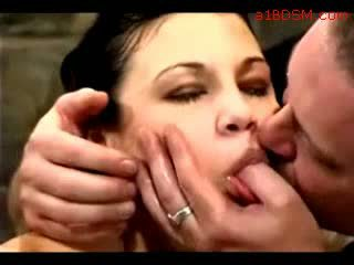 Girl Hanging In Bondage Nipple Weights Getting Her Pussy Fingered Tortured With Water By Master In The Dungeon