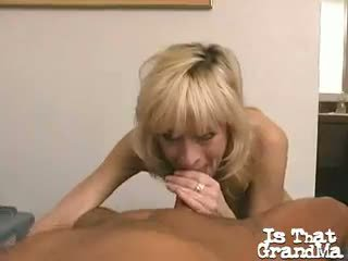 Gorgeous Blonde Granny Kari Slurping A Big Black Dong On
