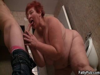 Immense Lady Receives It From Behind In The Public Restroom