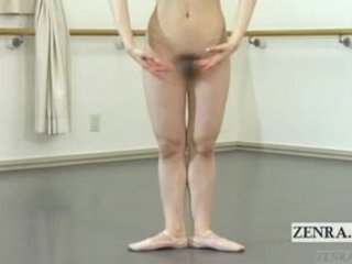 Subtitled Japanese Ballerina Strips Naked And Practices