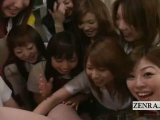Subtitled CFNM POV Japanese Schoolgirl Group Penis Play