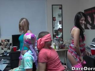College girls blindfolded the guys and gave them lap dance