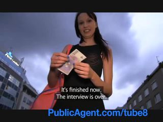 PublicAgent Skinny brunette is fucked next to a river