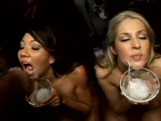 Girls drink cum from 50 guys
