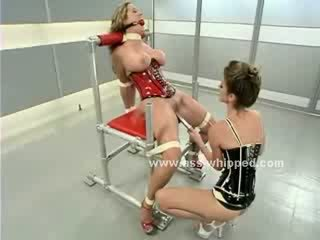 beautiful Blond gets her mouth gagged and her nipples clamped while her Mistress humiliates her