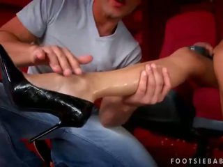 Nikky Blond enjoys foot sex in cinema