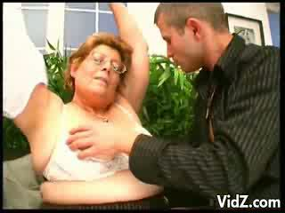 Horny granny thirsts for chick man meats