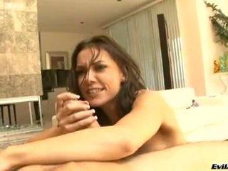 hq brunette, ideaal pijpen video-, blow job