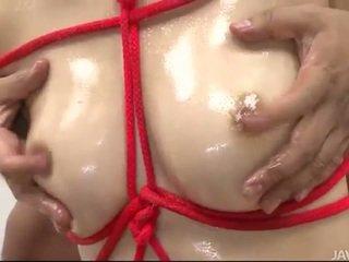 Sara seori bound with pink rope for pleasure