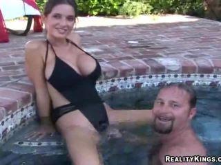 brunette, vers realiteit video-, grote borsten