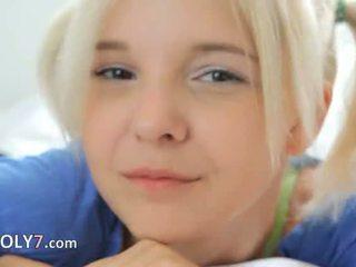 18yo blondie teasing in masturbate