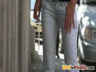 Peeing Nymph Involving Smut Jeans Inside The Street For You