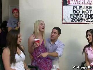 Slutty sorority girls party hard with frat boys