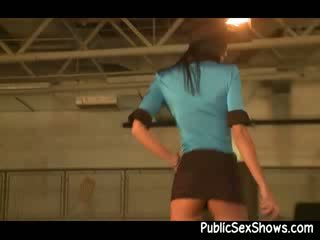 Stunning dark haired dressed like a police cop strip and dancing dirty