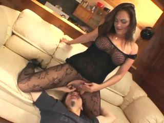 Facesitting and smothering in crotchless nylon