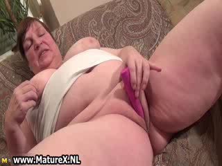 Old big Titty mommy gets big pink vibrator which
