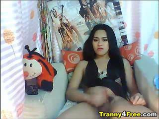 Erotic Oriental Transsexual Masturbating Her Huge Thang