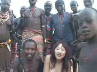 japonais, fille, africain