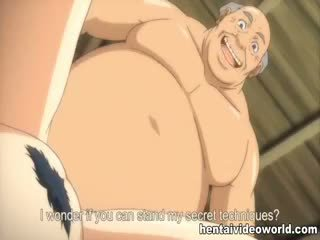 Old Guy Fucks Busty Hentai Girl In Both Holes