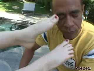 Luscious Pason gives boner a rub using feet